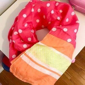 Ann Taylor Retro dot silk Scarf Pink Guava